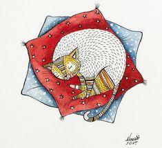 Милые коты на рисунках художницы Norvile Dovidonyte