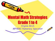 Virginia Birch MFNERC Numeracy Specialist Overview Mental Math… what is it? Grade 1 to 3 Strategies Indicators from the Provincial Report Card.