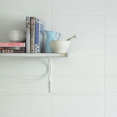 Tones White Wall Tile from Tile Mountain only per tile or per sqm. Order a free cut sample, dispatched today - receive your tiles tomorrow White Wall Tiles, Metro Tiles, Statement Wall, Color Tile, Color Blocking, Minimalist, Shelves, Interior Design, Wave