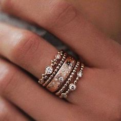 5Pcs/Set Crystal Charm Rose Gold Stackable Ring 5 Sparkly Rings Boho Jewelry