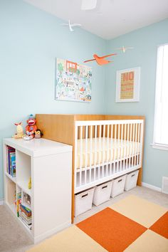 Sherwin-Williams Harmony Zero VOC paint; storage bins under crib; expedite next to crib; FLOR tiles... I pretty much like this entire set up