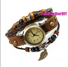 Vintage Wrist Watch,Women Men Wrap Bracele,  Leather Watch Bracelet Chain, Handmade Leaf Steampunk Watch, Brown Retro Bracelet B46
