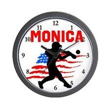 SOFTBALL STAR Wall Clock These awesome softball player clocks will look awesome on every soft ball player's wall. http://www.cafepress.com/sportsstar/13303627 #Softball #Lovesoftball #Sofballgift #Personalizedsoftball #Softballclock