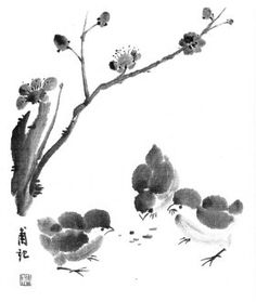 chinese brush painting bamboo and chickens - Google Search