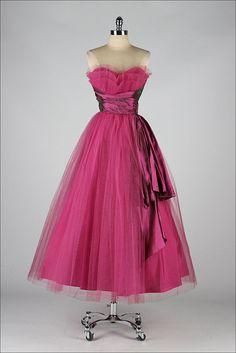vintage 1950s dress . magenta tulle strapless by millstreetvintage