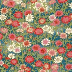 Chiyogami or yuzen paper - fresh daisy, pink and blue