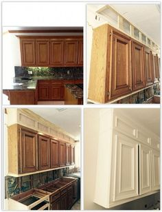 How To Make Ugly Kitchen Cabinets Look Great . by removing the existing soffets above the cabinets & building extensions of the cabinets to the ceiling, then framing them to look like the rest of your cupboards . Kitchen Cabinets To Ceiling, Kitchen Soffit, Updating Kitchen Cabinets, How To Make Kitchen Island From Cabinets, How To Paint Kitchen Cabinets, Building Kitchen Cabinets, Above Cabinets, Kitchen Cabinet Remodel, Diy Kitchen Remodel