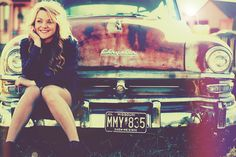 Vintage hipster retro old car pose senior picture girl photo idea photography www.PhotographyByTimToms.com