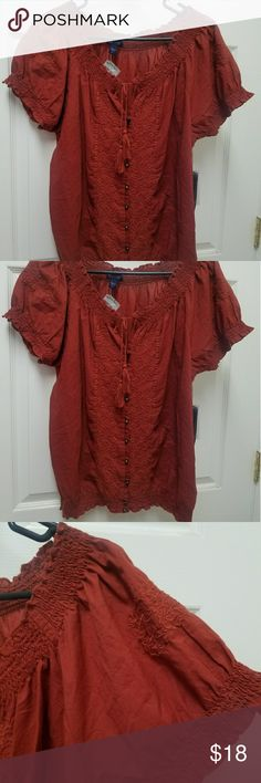 AK Jeans Burgundy Blouse Perfect blouse for a casual day.  Embroidered pattern on blouse.  Never worn. Anne Klein Tops Blouses