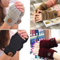 Winter Women Men Soft Fingerless Gloves Mittens Knitted Glove Arm Hand Warmer