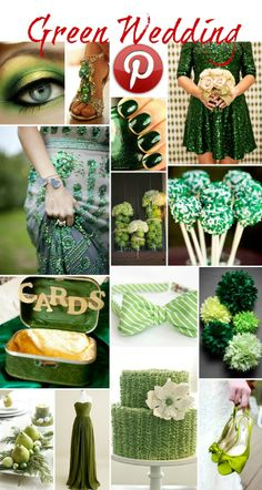 Boho Pins: Green Weddings like the green floor length dress