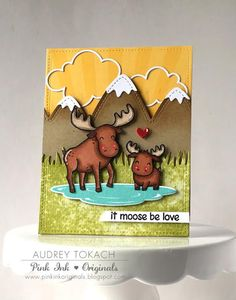 Lawn Fawn - Critters in the Arctic, Stitched Mountain Borders, Dad + Me, Grassy Border, Simple Puffy Cloud Frames, Stitched Rectangle Stackables _ card by Audrey for Lawn Fawn blog