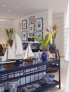 Nautical Table scape - blue and white living room. console
