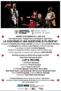 Teatroà: al via gli incontri !  23 novembre a Udine ... La coscienza è una questione di filosofia?