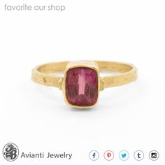 Ring Tourmaline Ring 14kt Yellow Gold Ring by AviantiJewelry
