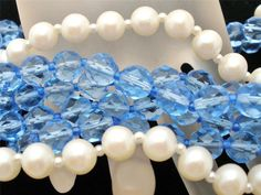 """Miriam Haskell Glass Bead Necklace Pearl Blue 17"""" Long Vintage Signed #MiriamHaskell #Multistrandbeads"""