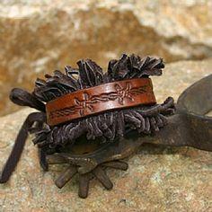 Deer Fringe Hand Stamped Leather Bracelet by Deborah & Russell Shamah