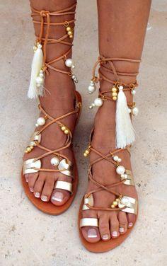 Aphrodite mariée sandales plates sandales de mariage de plage