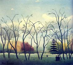 Henri Rousseau In the park date and location unknown. I thought this painting was interesting because I find it very simple and in all honesty it isn't impressive. There are colors in the painting but they are all dull and cloudy looking. This picture is interesting because the trees in the front are dead while the others aren't.