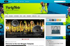 Party Note Blogger Template is a free music style template. It has a beautiful header with a music and girl image, it is a two columns design.
