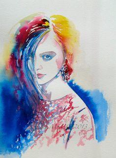 Fashion Paradise Original Watercolor Painting - Fashion Illustration by Lana