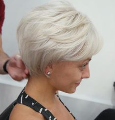 Short Feathered White Hairstyle