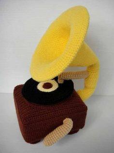 Crochet Pattern - GRAMOPHONE - Toys / Deco / PDF / Music
