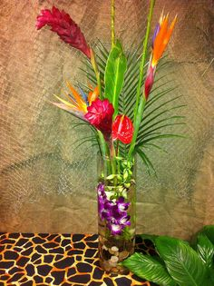 jungle centerpiece luau tropical flowers