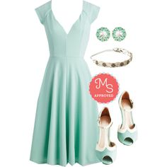 In this outfit: Name the Date Dress, Two Can Play that Glam Earrings, All That I Beaded Headband, Going to Gait Lengths Heel in Seaglass #mint #bridesmaid #formal #weddingwear #monochrome #ModCloth #ModStylist