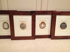 set of 4 agate slices in wooden frames