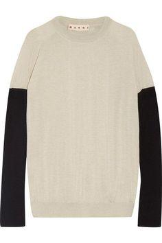 MARNI Bow-embellished color-block cashmere sweater. #marni #cloth #knitwear