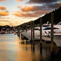 Sunset on Picton Marina Marlborough Sounds, New Zealand, Explore, Sunset, Sunsets, The Sunset, Exploring