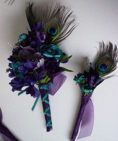 Weddings Peacock Purple teal Bridal Bouquets 15 Piece Package Silk Flowers custom for Erin via Etsy