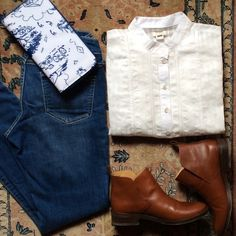 JCrew white placket blouse NWT