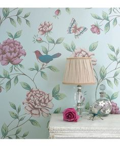 Birds on duck egg blue Too girly for the boy half of the room? Shabby Chic, Bedroom, Vintage, Floral, for similare see www.melodymaison.co.uk