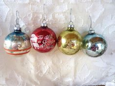 4 Mercury Glass Christmas Tree Ornaments by BonniesVintageAttic,