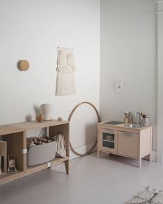 my daughters room, with her little IKEA kitchen I painted a light pink Ikea Play Kitchen, Minimalist Kids, Diy Casa, Daughters Room, Little Girl Rooms, Baby Decor, Kids Furniture, Boy Room, Kids Bedroom