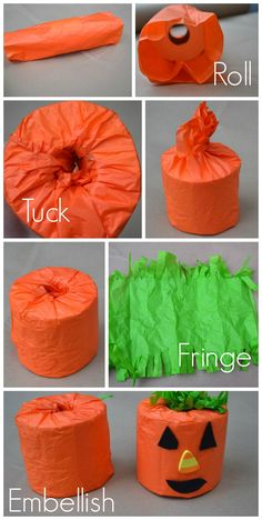 Pumpkin toilet paper craft - would be great in the bathroom for a party!! :)