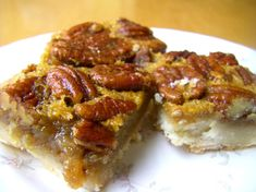 Margo's Maple Pecan Squares - These Maple Pecan Squares are delicious, rich and gooey like a good pecan pie. The maple syrup doesn't shout maple at you but gives it a nuance that you wouldn't get with plain corn syrup. Barbecue Pork Ribs, Bbq, Best Pecan Pie, Pecan Bars, Rib Sauce, I Heart Recipes, Dry Coconut, Maple Pecan, Barbecue