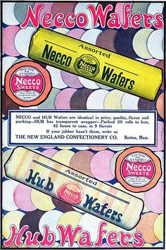 There's such a cool swingy sixties vibe of this Necco Wafer ad from 1914. #vintage #food #Edwardian #1910s #ad