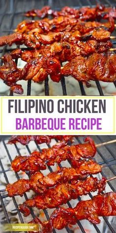 This Chicken Barbeque recipe is a Filipino version which is on the sweeter . The fondness of Filipinos to grilling or cooking over hot charcoals is so evident. You can buy the chicken barbeque along street corners and in front of your neighbour's house. Filipino Chicken Barbecue Recipe, Barbecue Chicken, Barbecue Recipes, Grilling Recipes, Cooking Recipes, Recipe Chicken, Vegetarian Grilling, Healthy Grilling, Vegetarian Cooking