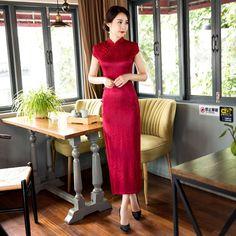 Red Long Style Women's Lace Cheongsam Traditional China Qipao Vestido Elegant Slim Dress Size S M L XL XXL XXXL C27419