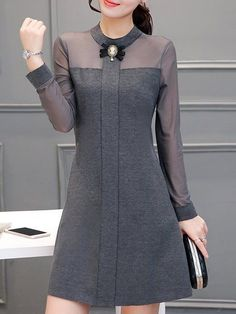 Buy Casual Dress For Women at JustFashionNow. Buy Casual Dress For Women at JustFashionNow. Online Shopping JustFashionNow Women Casual Dress Stand Collar A-line Daily Dress Long Sleeve Casual Cotton Paneled Dress, The [. Summer Dresses For Women, Trendy Dresses, Fashion Dresses, Fashion 2018, Dresses For Work, Womens Fashion, Dresses Dresses, Ladies Fashion, Sleeve Dresses