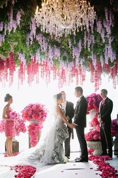 """Saying """"I do"""" is the most important part of your wedding day, so shouldn't your ceremony be as unique as the reception party? Create a ceremony aisle worthy of your big entrance. Here are 21 good ways to decorate your dream wedding ceremony! Wedding Ceremony Flowers, Wedding Ceremony Decorations, Ceremony Backdrop, Wedding Flower Arrangements, Wedding Themes, Wedding Venues, Wedding Photos, Wedding Ideas, Wedding Blog"""