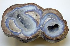 "A classic crystal lined ""Thunder egg"", cut and polished with blue agate banding. Double Dugway Geode fom Utah, U.S.A."