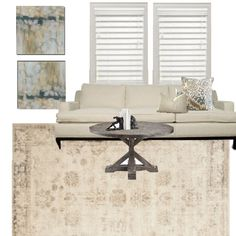 Here is the white sofa with the coffee table:) I would order the slate blue Ikat for the back pillow, instead of the floral:)
