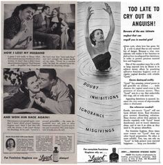 The Secret Life of Vintage Lysol Douche Ads - Here's to safe, legal, effective contraception for all. Retro Advertising, Vintage Advertisements, Vintage Ads, Retro Ads, Secret Life, The Secret, Social Science Project, Single People, Feminine Hygiene