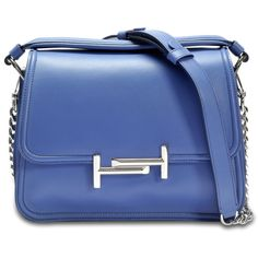 Tod's Double T small messenger bag (138,820 INR) ❤ liked on Polyvore featuring bags, messenger bags, blue, blue bag, blue messenger bag, tods bags and courier bag