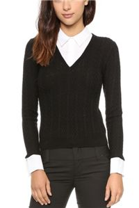Alice + Olivia - V Neck Collared Sweater: Since you're not actually layering a full button-down shirt under it, the sweater lays smoothly, making it easy to add a blazer.