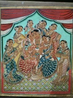 Krishna with consorts Mysore Painting, Tanjore Painting, Temple India, Indian Art Paintings, Traditional Paintings, Ganesha, Krishna, Artwork, Inspiration